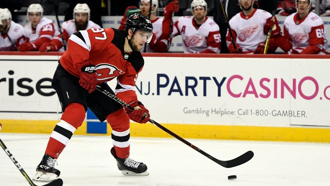 New Jersey Devils center Pavel Zacha (37) in the third period. The Detroit Red Wings defeat the New Jersey Devils 3-0 in Newark, NJ on Monday, January 22, 2018.