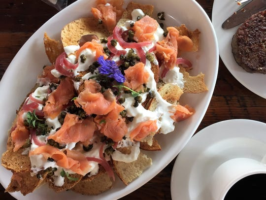 The bagel-and-lox nachos at Rhubarb are topped with