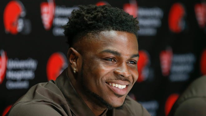 Cleveland Browns' Jabrill Peppers, selected 25th overall in the NFL draft, answers a question during a news conference at the footall team's training facility, Friday, April 28, 2017, in Berea, Ohio. Peppers played defensive back at Michigan.