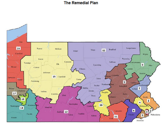 The new plan for congressional districts in Pennsylvania.