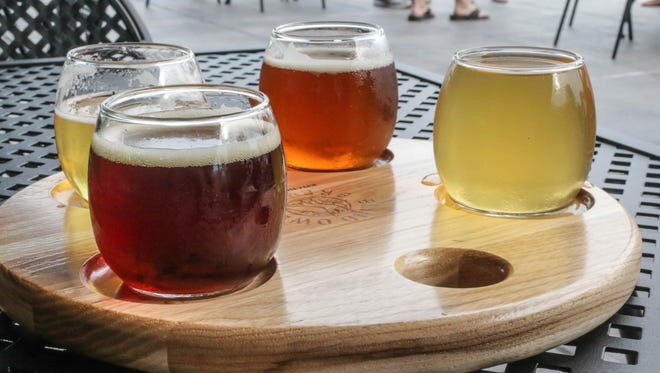 A beer flight at The Blind Owl Brewery.