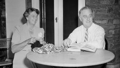 President Franklin D. Roosevelt presented each member of the White House staff with this informal photo of himself and first lady Eleanor Roosevelt for Christmas in 1941. They are shown at their Hyde Park home, July 4, 1941.