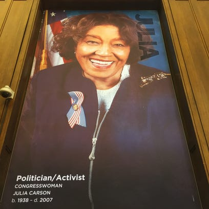 Julia Carson on a poster in the new Center for Black