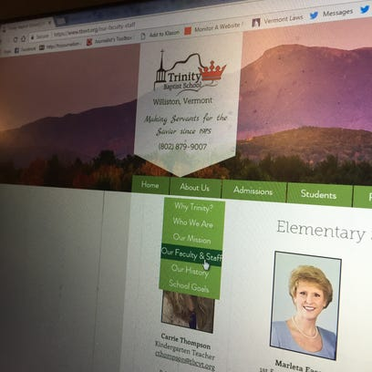 The staff page of the Trinity Baptist School, pictured