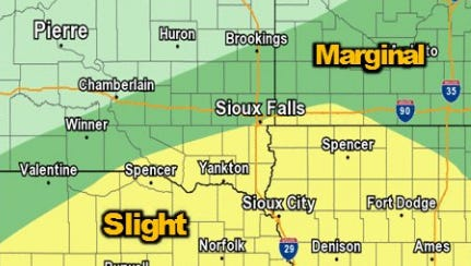 Possibility of severe weather in eastern South Dakota on Thursday night.