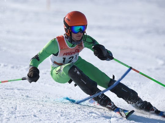 Colin Condit from Brother Rice in the slalom course at Pine Knob on feb. 14, 2018.