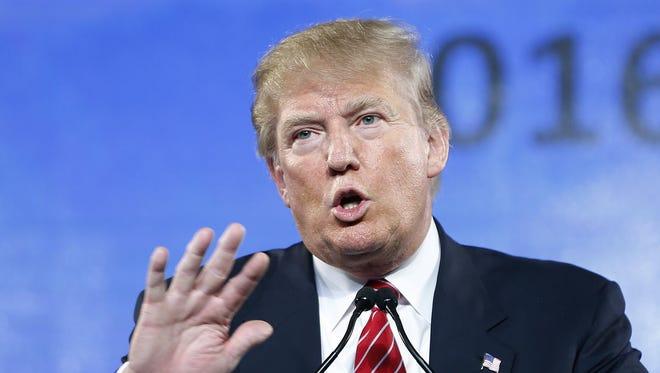 Republican presidential candidate Donald Trump speaks Saturday at FreedomFest in Las Vegas.