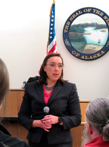 Alaska Assistant District Attorney Amy Paige gives closing statements to jurors in the trial of Mark Desimone, a former Arizona legislator charged with killing a man on an Alaska hunting and fishing trip in 2016, in Juneau, Alaska on May 10, 2018.
