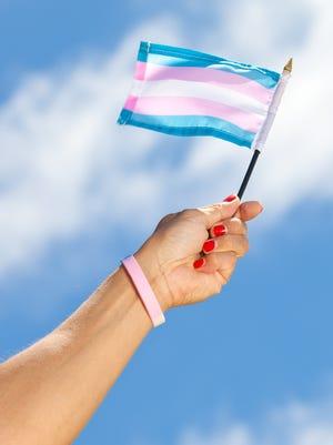 Arm with hand holding Transgender pride flag.