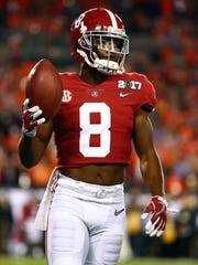 Jan 9, 2017; Tampa, FL, USA; Alabama Crimson Tide defensive back Jared Mayden (8) warms up before the 2017 College Football Playoff National Championship Game against the Clemson Tigers at Raymond James Stadium. Mandatory Credit: Mark J. Rebilas-USA TODAY Sports