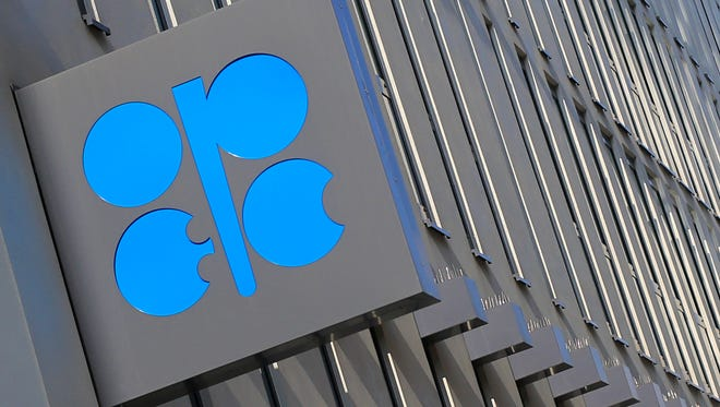 The logo of the Organization of the Petroleum Exporting Countries (OPEC) is seen at the headquarters building in Vienna.
