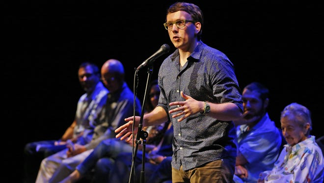 Local comedian takes part in an Arizona Storytellers event in Phoenix.