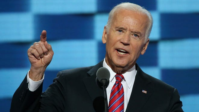 U.S. Vice President Joe Biden delivers remarks on July 27, 2016 at the Democratic National Convention in Philadelphia.
