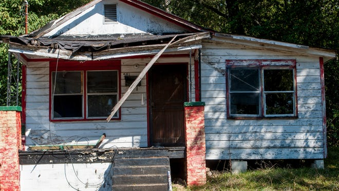 The house at 581 Greyhound Street is up for demolition by the city of Montgomery, Ala., on Tuesday October 4, 2016.