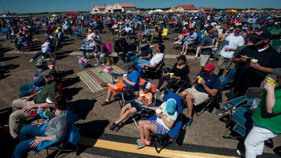 Thousands watch the Maxwell Air Show at Maxwell Air Force Base in Montgomery, Ala., on Saturday April 8, 2017.
