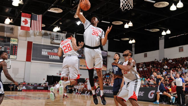 Christian Wood #36 of the Houston Rockets grabs the rebound against NBA D-League Select on July 10, 2015 at the Cox Pavilion in Las Vegas,