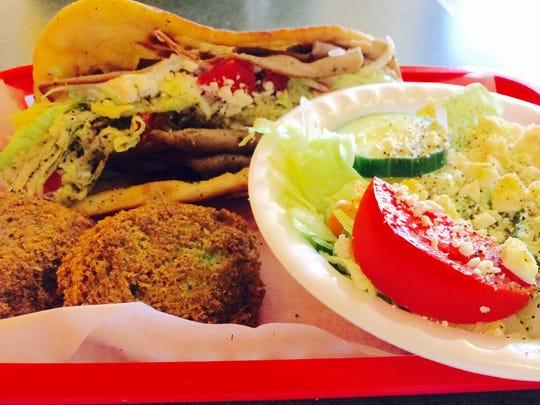 Olympus gyro, falafels and salad at Little Athens.