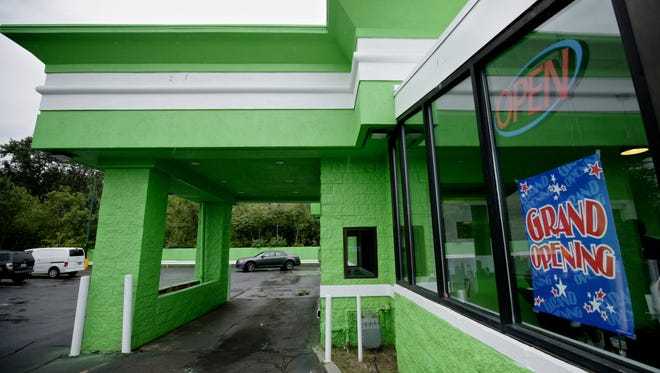 The drive-through window of a medical dispensary in Detroit is seen in this September photo. .