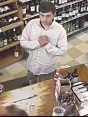 A surveillance photo of Scott Deluca, who is wanted in connection with a number of thefts of high-end wine bottles from liquor stores throughout the Northeast, including Bernardsville.