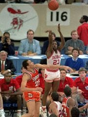 IU's Keith Smart takes the winning shot in the 1987 NCAA championship game.