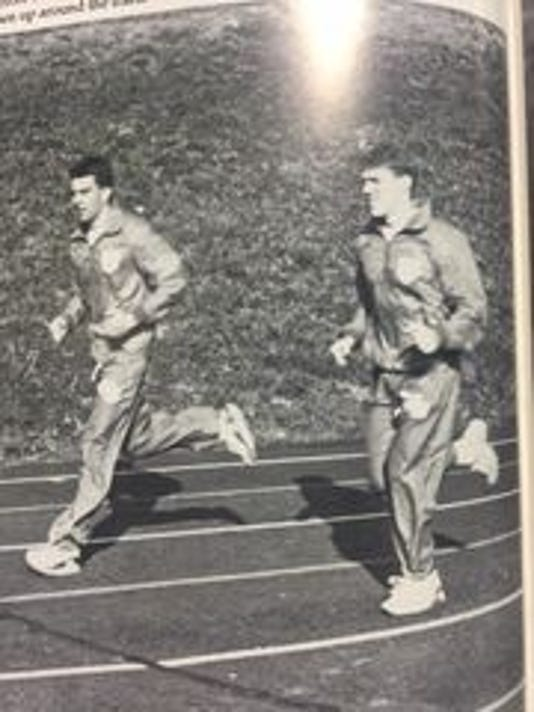 Rutgers football coach Chris Ash runs the track at Ottumwa High School in this yearbook photo. (Photo: Courtesy of Ottumwa High School)