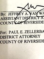 A Riverside County wiretap application, approved by Assistant District Attorney Jeffrey Van Wagenen.
