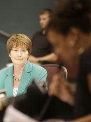 CPS superintendent Mary Ronan listens during a May