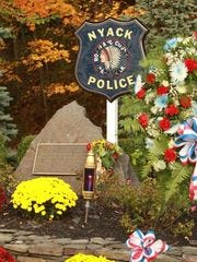 Memorial site for Nyack officers Sgt. Edward O'Grady and Officer Waverly Chipper Brown at entrance to the New York State Thruway in Nyack.