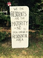Sign last year in front of a Sterling Heights home