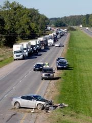 First responders are on the scene of a fatal three-car crash on eastbound I-96 on Monday, Sept. 19, 2016, near Williamston.