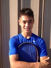 Memorial boys' tennis senior Brandon Wu