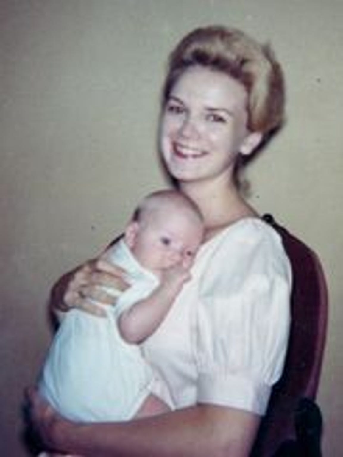 A 1962 picture of Mary Horton Vail, 22, holding her