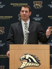 Western Michigan football coach Tim Lester fields questions after being introduced Saturday, Jan. 14, 2017.