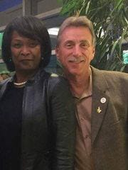 Nancy Adams Johnson, left, and Norwood Jewell, the UAW vice president who handled Chrysler negotiations. Federal court documents said Adam Johnson and other UAW officials had lavish meals in Detroit on Fiat Chrysler's dime.