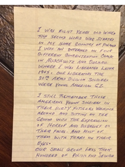 One of the pages in a letter written by a Holocaust survivor to Eliseo Lopez, of Corpus Christi.