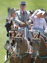 Frolic Weymouth keeps his hands on the reins in Parade of Carriages at Point-to-Point in 2005.