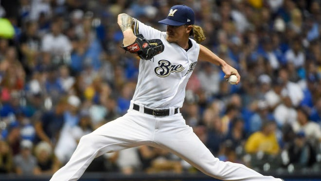 Milwaukee Brewers pitcher Josh Hader (71) throws a pitch in the seventh inning against the Los Angeles Dodgers at Miller Park.