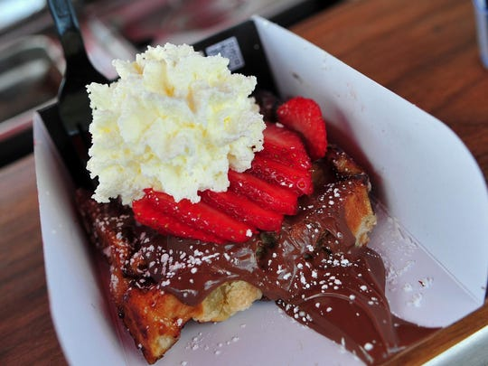 A waffle with Nutella, strawberries and whipped cream from Waffles de Lys, which is taking part in Laurita Winery's upcoming Summer Food Trucks and Firepits event.