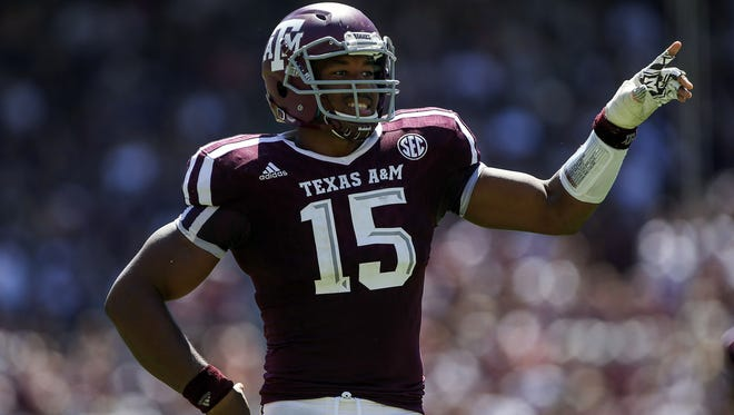 Texas A&M defensive end Myles Garrett has been dealing with a left ankle injury this season.
