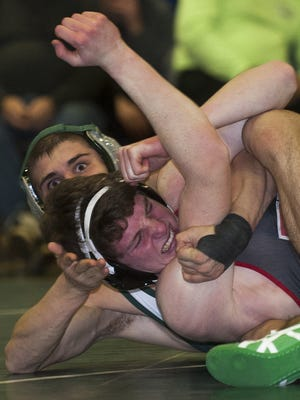 West Deptford's Jarryd Ley, left,  wrestles Haddonfield's Jack Goldberg during the 152-pound bout on Jan. 20. Ley is the No. 2 seed in District 29's 152 class due to a head-to-head loss to Paulsboro's Santino Morina.