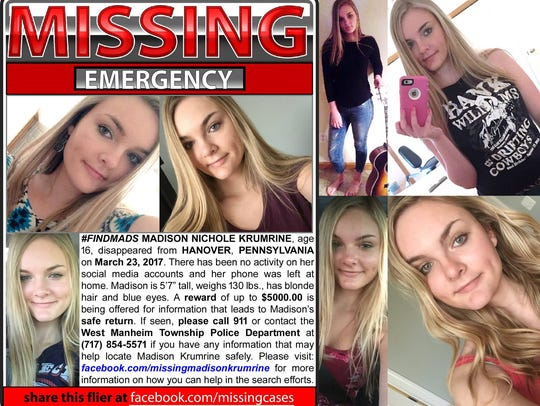 Madison Krumrine's loved ones have created this flier