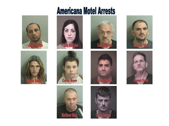A list of the 10 people were arrested at the Americana Motel in Toms River in late November 2017.