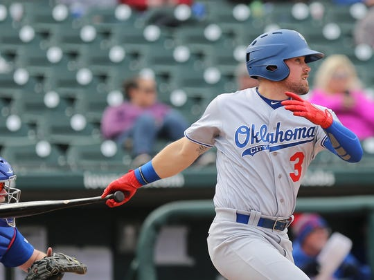 Jake Peter during an Oklahoma City Dodgers game at Principal Park in 2018.