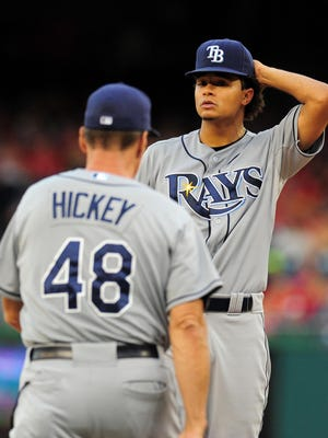 """""""We're still learning. We're still evolving,"""" says Rays ace Chris Archer of the club's young rotation that ranks last in the AL in innings (5.5) and pitches (88) per start."""