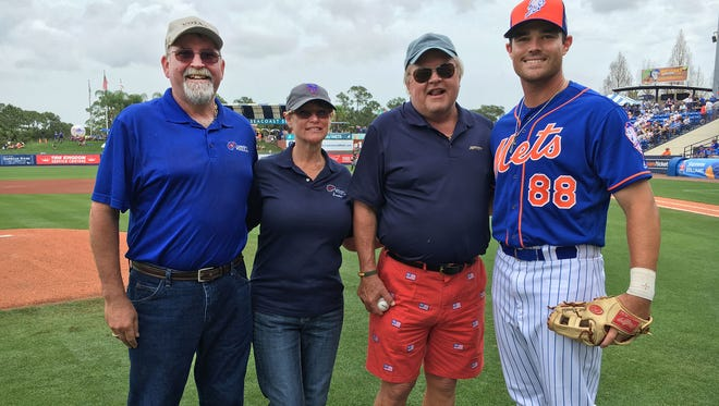 Art and Sandee Allen of A&G Concrete Pools with veteran and first-pitchman John Jetson and N.Y. Mets player Jayce Boyd