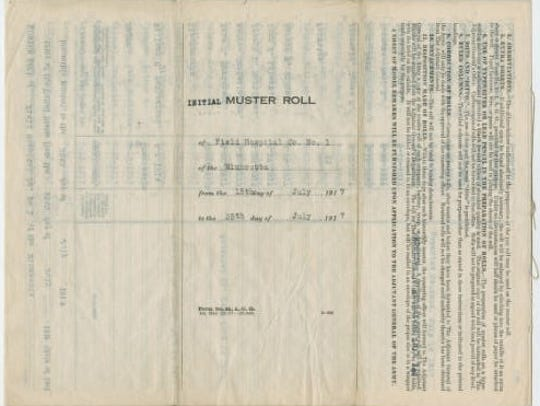 A muster roll from World War I is among documents digitized