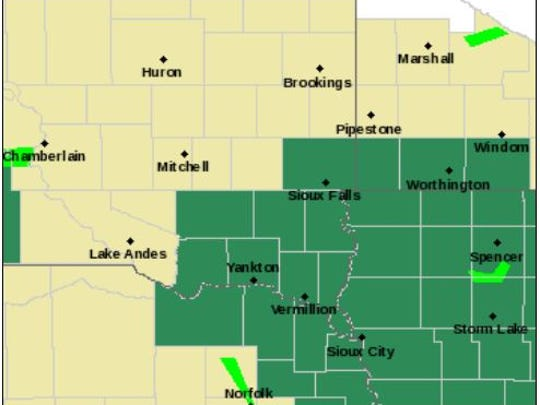 Flash flood watch for areas in green.