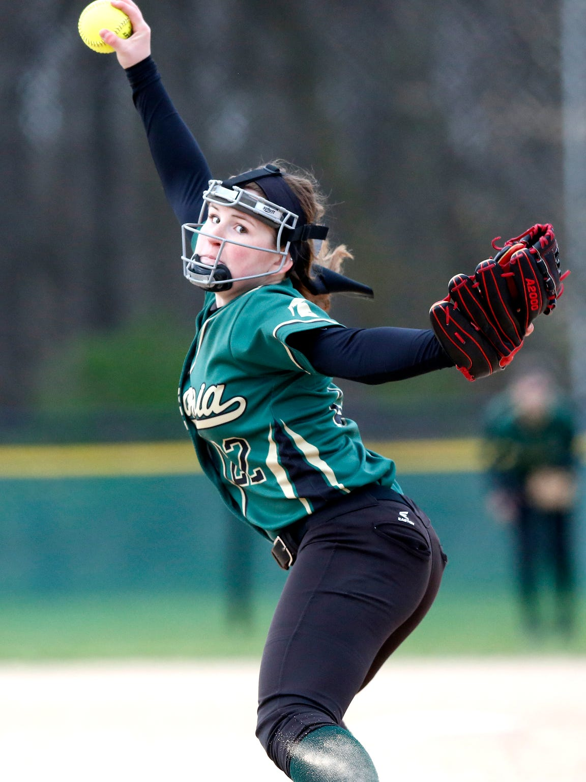 Laconia's Kayla Schwebke fires a pitch in Tuesday's