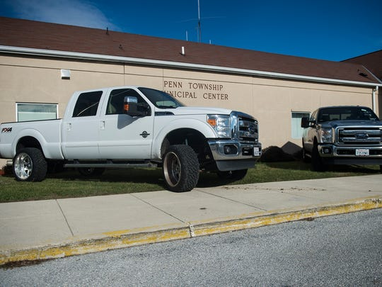 The two vehicles parked in front of the Penn Township building were seized during the recent drug bust and were displayed outside during the press conference on Jan. 4, 2016 in Penn Township.