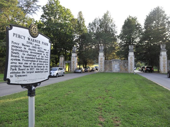 Belle Meade: The Belle Meade Boulevard entrance of the Percy Warner Park has a historic marker, here Sept. 17, 2013.